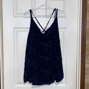 Maurice's navy embroidered tank top